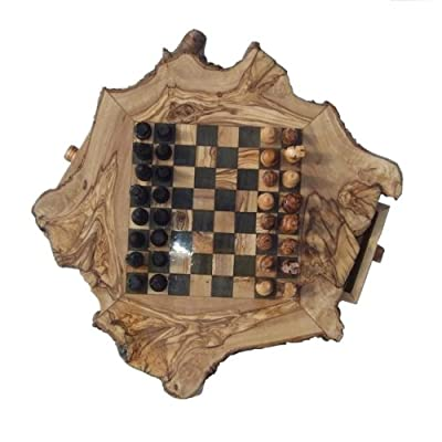 Naturally Med - Olive Wood Rustic Chess Set - 14 inch diameter - with pieces