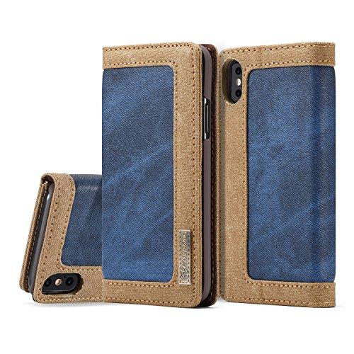 Price comparison product image iPhone X Case,  MKOAWA iPhone 10 Case (5.8 inch),  [Denim Series Wallet Case] Genuine Premium Canvas Flip Folio Denim Cover Case for Apple iPhone X / 10 (2017) (Blue)