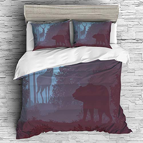 - 4 Pcs 3D Printed Young Bedding Collections Lightweight, Hypoallergenic(Singe Size) Cabin Decor,Grizzly Bear and Antler Mysterious Woods Smoky Jungle Fauna Landscape,Sky Blue Dried Rose
