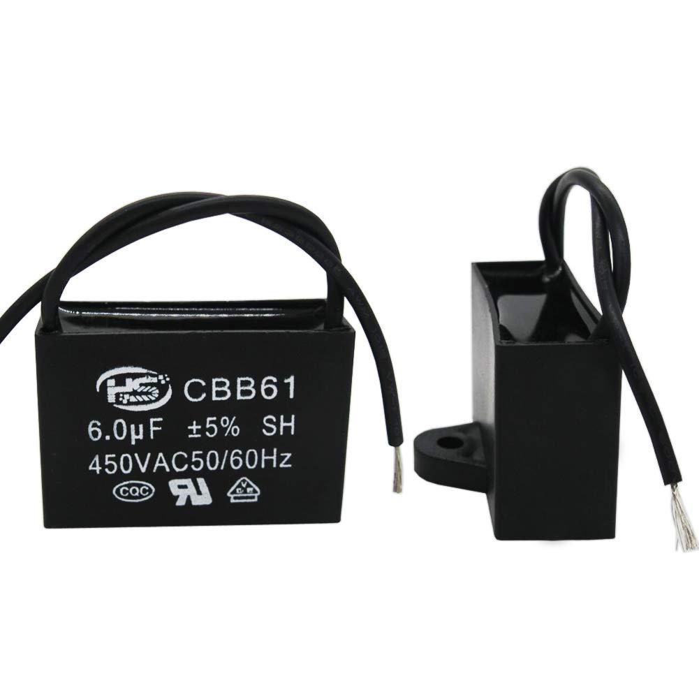 Twidec//2Pcs 450V AC 50//60Hz Run Capacitor 2-Wire Metallized Polypropylene Film Capacitors for Ceiling Fan Motor Start Run 6uf CBB61-6