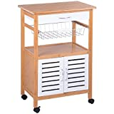 Bamboo Rolling Kitchen Island Serving Utility Cart Dining Portable Mobile Trolley Spacious Drawer Sliding Basket Storage Cabinet Organizer Home Indoor Outdoor Barbecue Use Ample Storage Space