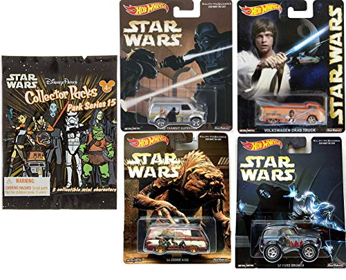 Luke Star Wars Hot wheels Ralph McQuarrie Pop Culture Real Riders Cars Bundled with Ford Van Darth Vader / Skywalker Volkswagen Drag truck / Bronco / Dodge & Mini Figures Collector Park Series 5 items