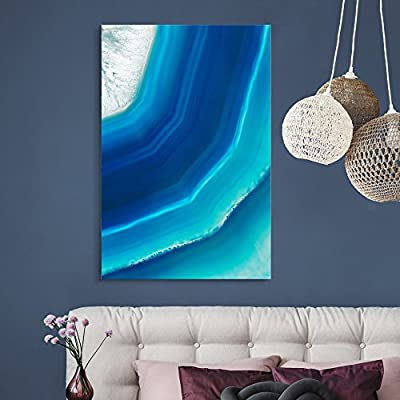 Canvas Wall Art - Blue Agate Pattern - Giclee Print Gallery Wrap Modern Home Art Ready to Hang - 12x18 inches