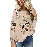 Women's Casual Round Neck Floral Print T-Shirt Top Chiffon Long Sleeve Tops Blouse