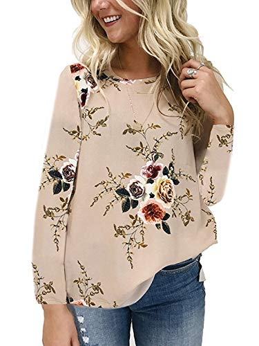 kigod Women's Scoop Neck Floral Print Casual Shirt Top Chiffon Long Sleeve Tops Blouse (Khaki, Medium) ()