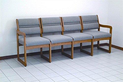Sled Base Quad Sofa in Medium Finish Solid Oak Frame (Charcoal Gray)