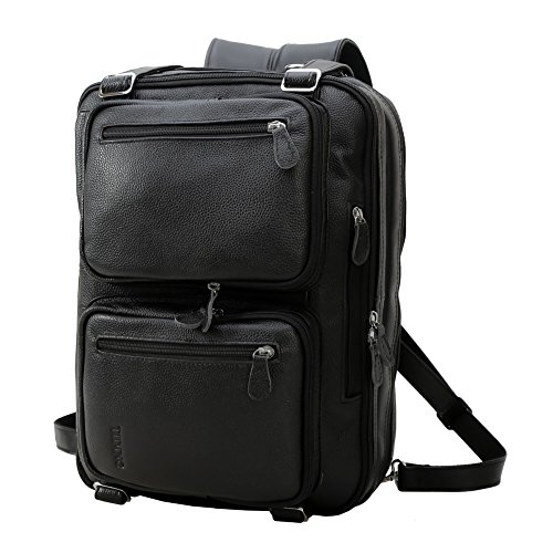 Tiding Men's Genuine Leather Convertible Backpack Laptop Messenger Shoulder Weekend Travel Bag Duffle Gym Bags Briefcase