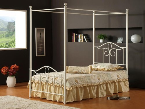 Hillsdale Furniture 1354BFP Westfield Canopy Bed Set, Full, Off White