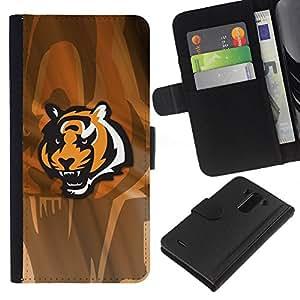 LECELL--Cuero de la tarjeta la carpeta del tirón Smartphone Slots Protección Holder For LG G3 -- Tigre enojado --