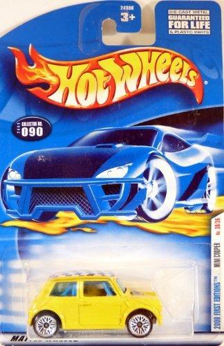 Mattel Hot Wheels 2002 1:64 Scale First Editions 2001 Yellow Mini Cooper Die Cast Car #040 2000 Mattel