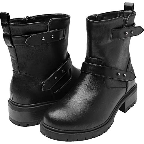 Women's Wide Width Mid-Calf Boots, Chunky Block Low Heel Back Pull-tab Buckle Zipper Cozy Comfortable Work Shoes.(180718 Black 13WW)