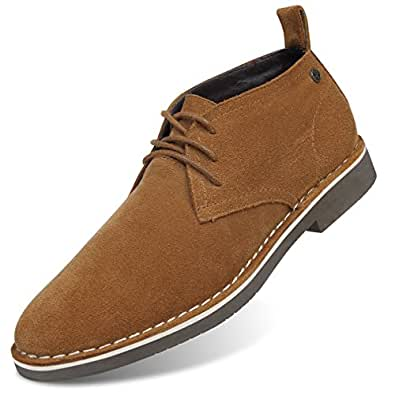 GM GOLAIMAN Men's Suede Chukka Boot Casual Lace Up Desert Boot Ankle Shoes Stylish Fashion Fit Comfortable Leather Shoes Brown 8.5 US