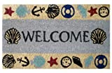 Iron Gate - Welcome Beach Theme - Printed Coco Doormat - Heavy Duty Outdoor Premium Coir Mat 18x30 - 1/2 Inches Thick - Extremely durable - Traps dust - Welcome your guests with this high quality doormat