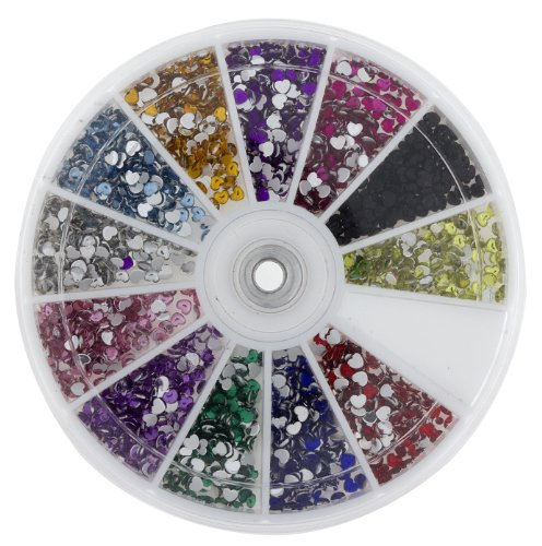 Premium MASH 1200 Piece 12 Color Nail Art Nailart 3D Design Heart Shape Rhinestones