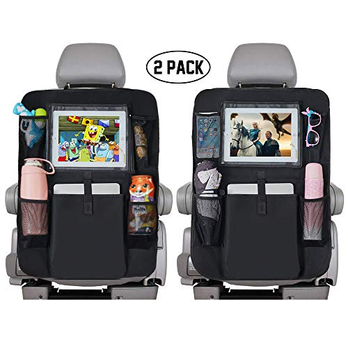 "Backseat Car Organizer for Kids, Kick Mats Cover Car seat Protector with Touch Screen 10"" Ipad Holder +5 Storage Pockets Vehicle Travel Interior for Toddlers(Black 2 Pack)"