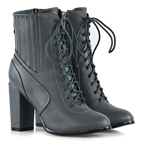 Grey Zipper GLAM Leather Up Ankle Womens ESSEX Ankle Synthetic Chunky Boots Lace Booties Heel Elasticated 8FFqd067