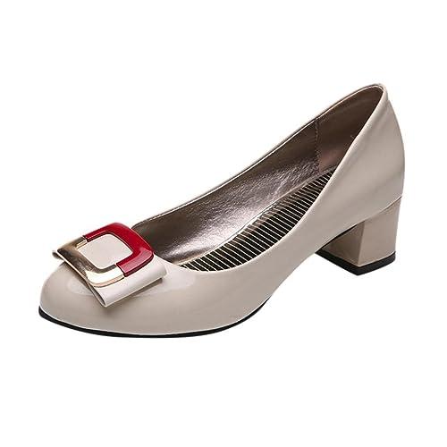 Zapatos de Vestir para Mujer Otoño 2018 PAOLIAN Calzado de Dama Tacón Ancho  Fiesta con Hebilla Cómodos Calzado de Femenino Moda Casual Zapatos con Punta   ... 3f9586af21c5