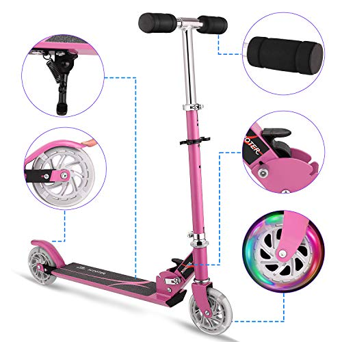 Hikole Kids Scooter for Boys Girls Age 3-8   2 Wheel Foldable Adjustable Mini Kick Scooter, Christmas Birthday Present for Children Age from 4 to 10 (Pink)