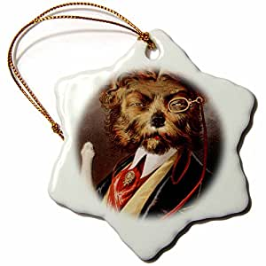 TNMPastPerfect Animals - Dog in Smoking Jacket With Champagne - 3 inch Snowflake Porcelain Ornament (orn_48548_1)