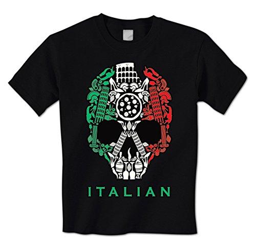 Italian Icons Skull Flag Italy Italia Food Culture National Pride Mens T-Shirt XL Black