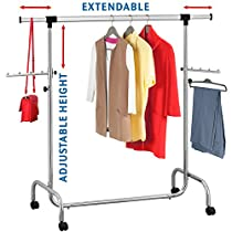Tatkraft Falcon Adjustable Large Storage Capacity Heavy Duty Clothes Rail on Wheels, Chrome Plated Steel, range of adjustment 105-176(L) X50(W) X137.5-187(H) cm