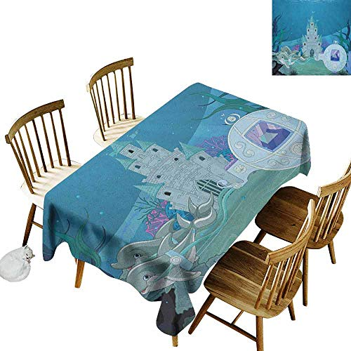 DONEECKL Ocean dust-Proof Tablecloth Daily use Fairytale Mermaid Castle with Dolphins Moss Fish Sun Beams Art Print Turquoise Pale Blue Teal W60 xL84