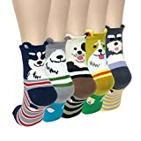 Wrapables Novelty Animal Print Crew Socks (Set of 5), Cute Doggy