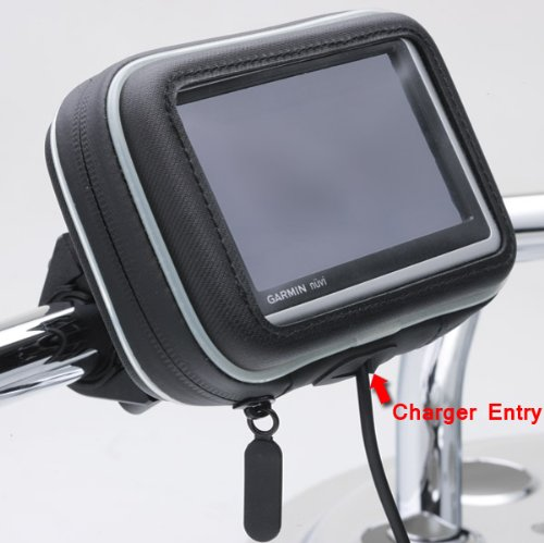 ChargerCity 5'' Screen Water Resistant GPS Case w/Security Screw Heavy Duty Bike Motorcycle Handle Bar Mount for Garmin Drive Smart Assist Nuvi 58 57 56 55 52 51 50 2589 2597 LM LMT TOMTOM GO Via GPS by ChargerCity