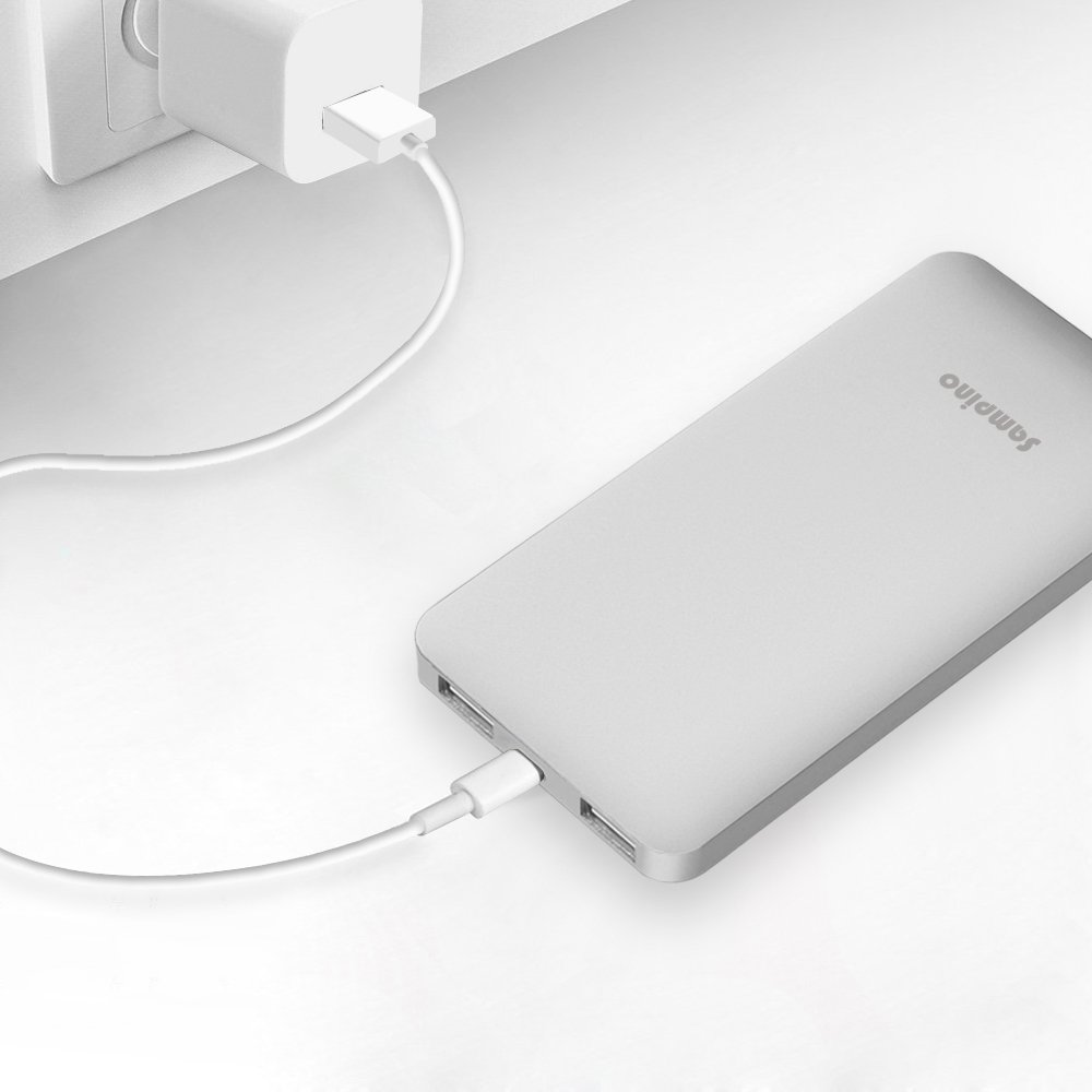 Sampino 5000 mAh Phone Charger for iPhone or Pokeman Go,1.0/2.1A Output External Battery Power Bank Dual USB Ports for iPhone Samsung Blackberry Microsoft HTC Portble DVD (Silver)