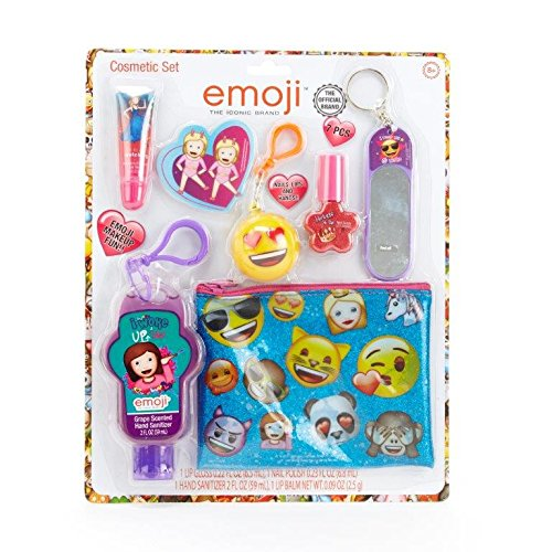 Townley Girl Emoji Cosmetic Set for Girls, Lip Gloss, Nail Polish, Hand Sanitizer, Key Chains and Zippered (Tween Sweet Bee Costume)