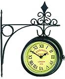 """Horloge de Gare """"Kensington Station London 1879"""" - 14,50cm - Double Face - Métal Brossé - Support mural INCLUS - Intérieur et extérieur - à piles - par Gardman"""