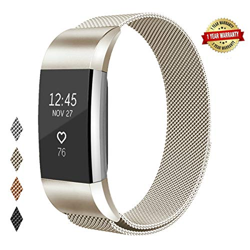 Yikee Replacement Bands Compatible with Fitbit Charge 2. Men Women Adjustable Stainless Steel Metal Mesh Smartwatch Accessories Band Strap with Magnetic Closure (Champagne, S(5.5