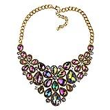 LOHOME Colorful Crystal Rhinestone Set Tassel Choker Statement Bib Necklace for Women