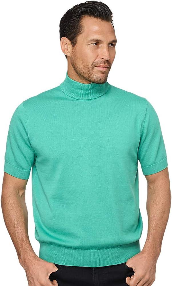 80s Men's Clothing | Shirts, Jeans, Jackets for Guys Paul Fredrick Mens Supima Cotton Short Sleeve Mock Neck $39.98 AT vintagedancer.com