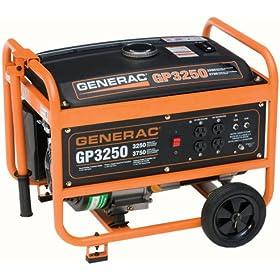 Generac 6432, 3250 Running Watts/3750 Starting Watts Gas Powered Portable Generator, 50 State/CARB Compliant
