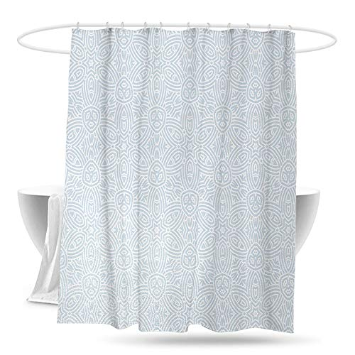 huangfuzz Celtic Shower Curtain with Hooks Vintage Ornamental Classic Flower Shaped Celtic Forms with Bent Lines Image Print Bathroom Curtain Washable Polyester 70in×70in Light - Light Bronze Neo Two Classic