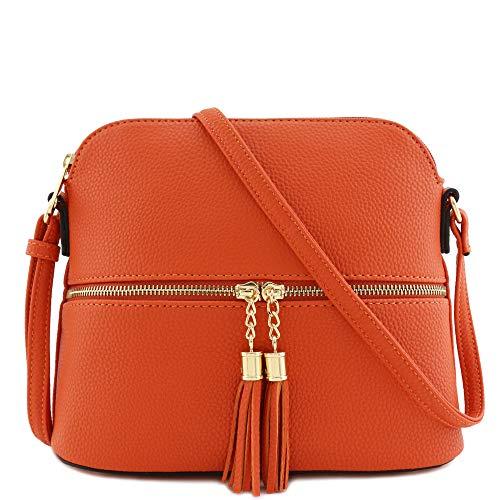 Tassel Zipper Pocket Dome Crossbody Bag (Orange)