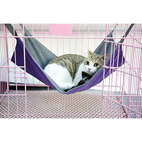 Cat Cage Hammock Bed, Pet Cushion Crib,Soft Cotton Oxford Fabric Table Hanging Bed Hammock for Kittens Puppy Rabbit (l, purple)