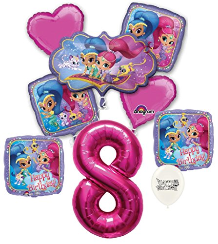 Pink Number 8th Birthday Shimmer and Shine Party Decorations Balloon Bouquet Bundle
