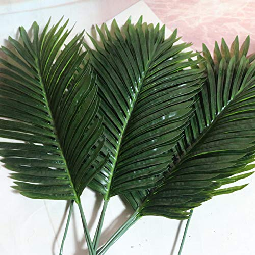 SOFTBATFY Artificial Palm Tree Leaves Tropical Plants Faux Fake Palm Frond Plant Artificial Plants Greenery Flowers (12pcs -
