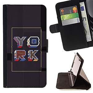 BullDog Case - FOR/Sony Xperia Z1 Compact D5503 / - / YORK POSTER GREY GOLD RETRO CALLIGRAPHY /- Monedero de cuero de la PU Llevar cubierta de la caja con el ID Credit Card Slots Flip funda de cuer