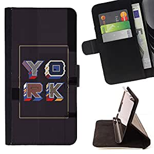 Jordan Colourful Shop - York poster grey gold retro calligraphy For Samsung Galaxy S6 EDGE - < Leather Case Absorci????n cubierta de la caja de alto impacto > -