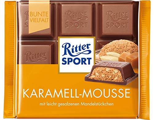Ritter Sport Caramel Mousse Chocolate Bar Candy Original German Chocolate 100g/352oz