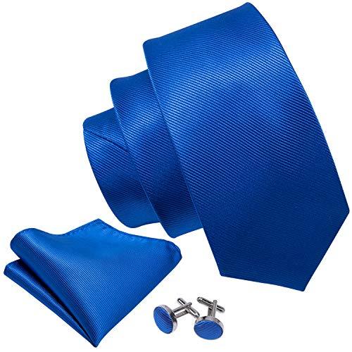 Barry.Wang Blue Stripe Tie Solid Color Mens Necktie Set Hanky Cufflinks