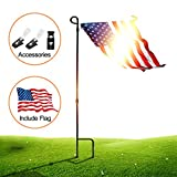 Garden Flag Stand Pole Holder with Garden Flag Stopper and Anti-Wind Clip 36.22'' H x 16.53'' W for Premium Metal Wrought Iron Powder Coated Weather-Proof Paint Steel Include Flag(black-Include Flag)