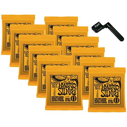 12 Sets of Ernie Ball 2222 Nickel Hybrid Slinky Electric Strings (9-46) w/ Free String Winder