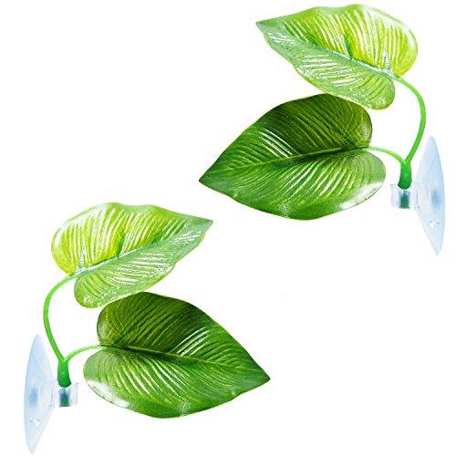 2 Pack Betta Fish Leaf Pad Betta Hammock Toys Plastic Aquarium Plants with Suction Cup,Green