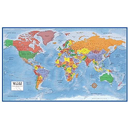 48x78 world classic premier wall map mega poster 48x78 front laminated