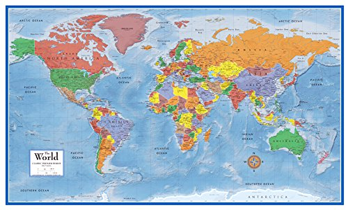 Swiftmaps SM WOR PREM EL SM LAM World Premier Wall Map Poster Mural 24h x 36w Laminated