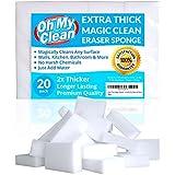 (20 Pack) Extra Large Magic Cleaning Eraser Sponge - 2X Thick, 2X Longer Lasting Melamine Sponges in Bulk - Multi Surface Power Scrubber Foam Pads - Bathtub, Floor, Baseboard, Bathroom, Wall Cleaner